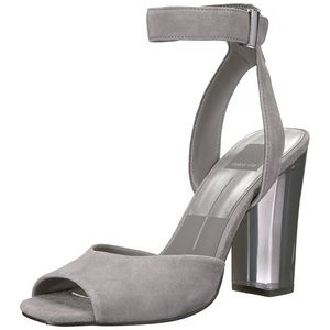 Dolce Vita Hades Gray Suede Heels Sandal Lucite